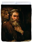St Matthew And The Angel Duvet Cover by Rembrandt Harmensz van Rijn