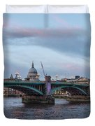 St. Paul's Cathedral Behind The Southwark Bridge During Sunset Duvet Cover