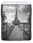 Church And Gravemarkers Duvet Cover