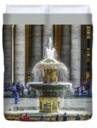 St. Peter's Square Fountain At The Vatican Duvet Cover