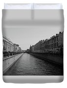 St Petersburg Waterway - Black And White Duvet Cover