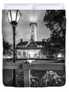 St. Simons Lighthouse Black And White Duvet Cover
