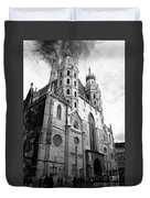 St Stephens Cathedral Vienna In Black And White Duvet Cover