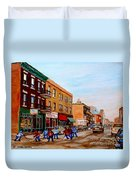 St. Viateur Bagel Hockey Game Duvet Cover