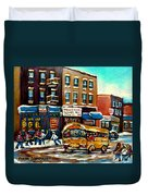 St. Viateur Bagel With Hockey Bus  Duvet Cover