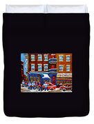 St Viateur Bagel With Hockey Montreal Winter Street Scene Duvet Cover