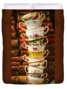 Stacked High Tea Cups Duvet Cover
