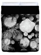 Stacked Wood Logs In Black And White Duvet Cover
