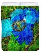 Stained Glass Blue Poppy One Duvet Cover
