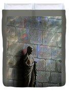 Stained Glass Illuminates Christ Duvet Cover