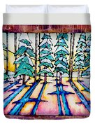 Stained Glass Watercolor Winter Pine Trees Duvet Cover