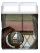 Stained Glass Window With Curtains In Crystal Ball Duvet Cover