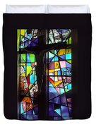Stained Glass With Crucifix Silhouette Duvet Cover