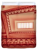 Staircase In Red Duvet Cover