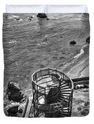 Stairs To Nowhere Pismo Beach Black And White Duvet Cover by Priya Ghose