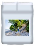 Stairway From Lake Superior Beach To Au Sable Lighthouse In Pictured Rocks National Lakeshore-michig Duvet Cover