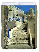 Stairway In Santorini Duvet Cover
