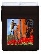 Stan Musial Statue On Opening Day  Duvet Cover