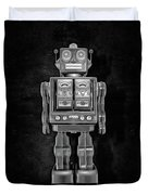 Star Strider Robot Red Bw Duvet Cover