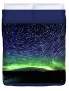 Star Trails And Aurora Duvet Cover
