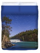 Star Trails And Moonbow Over Bow Falls Duvet Cover