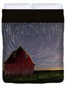 Star Trails At The Red Barn Duvet Cover