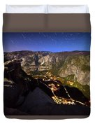 Star Trails At Yosemite Valley Duvet Cover