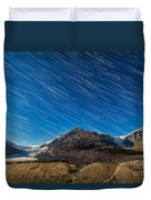 Star Trails Over Columbia Icefields Duvet Cover
