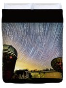 Star Trails Over Custer Observatory Duvet Cover
