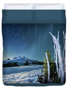 Star Trails Over Mt. Hood Duvet Cover