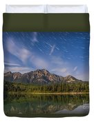 Star Trails Over Patricia Lake Duvet Cover