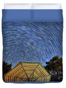 Star Trails Over The Umbrellas Duvet Cover