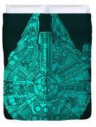 Star Wars Art - Millennium Falcon - Blue 02 Duvet Cover