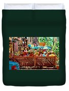 Starbucks Cafe On Monkland Montreal Cityscene Duvet Cover