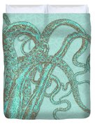 Stardust Tentacles, Aqua Watercolor Octopus Coated With Stardust Duvet Cover