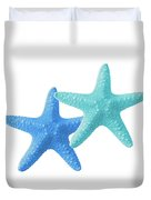 Starfish Blue And Turquoise On White Duvet Cover