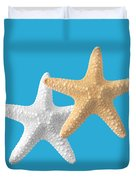 Starfish On Turquoise Duvet Cover