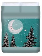 Starry Night Crescent Moon  Duvet Cover