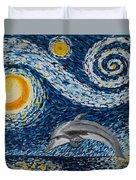 Starry Night Dolphin Duvet Cover