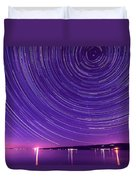 Starry Night Of Cayuga Lake Duvet Cover by Paul Ge