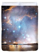 Starry Night Over A Mountain Lake Fantasy Duvet Cover