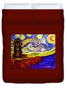 Starry Night Over Nubble Lighthouse  Duvet Cover