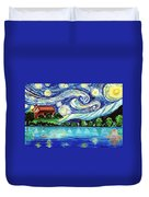 Starry Night Over The Lake Duvet Cover