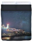 Starry Sky Of The Nubble Light In York Me Cape Neddick Duvet Cover