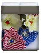 Stars And Stripes Bouquet Duvet Cover