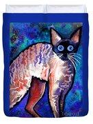 Startled Cornish Rex Cat Duvet Cover by Svetlana Novikova