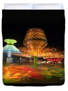State Fair Rides At Night I Duvet Cover by Clarence Holmes
