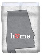 State Map Outline Alabama With Heart In Home Duvet Cover