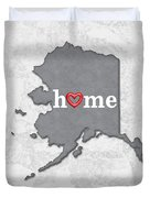 State Map Outline Alaska With Heart In Home Duvet Cover