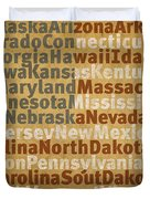 State Names American Flag Word Art Red White And Blue Duvet Cover